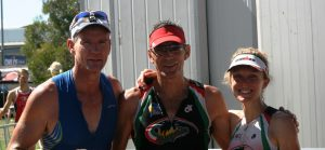 Toby Somerville, triathlon coach, with Brian Smith and Sian Reece